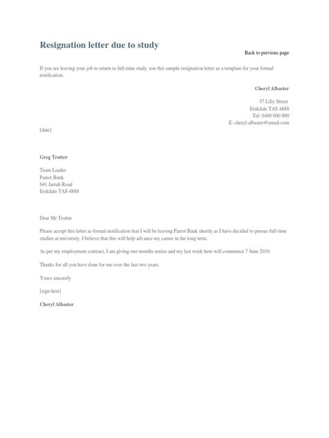 Immediate Resignation Letter To Work Abroad Resignation Letter Due To Study