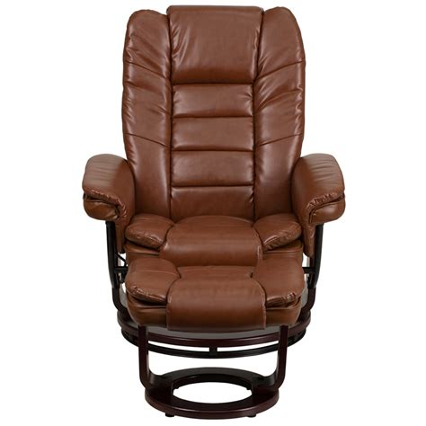 contemporary recliners contemporary brown vintage leather recliner and ottoman