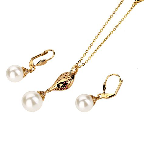 Set Necklace Earrings C73934 Gold fashion jewelry sets gold plated pearl bead