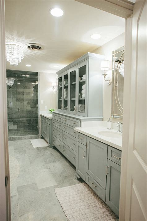 Fixer Upper Long Narrow Bathroom White And Gray Master Bathrooms Design Ideas