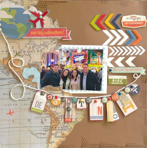 scrapbook layout travel travel theme map paper arrow and banner scrapbook