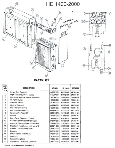 trion he 1400 air cleaner parts