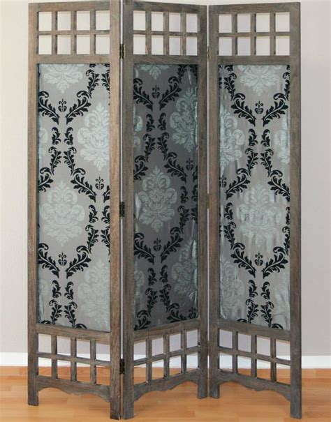 wooden and fabric room divider screen 3 panel room