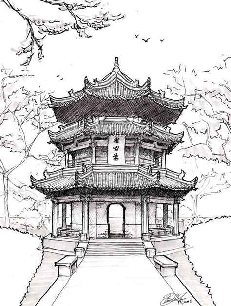 famous japanese temples drawings google search art