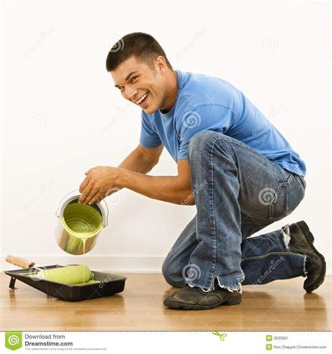 paint man man pouring paint stock image image 3533061