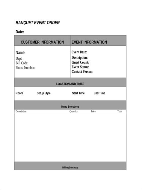 7 Exles Of Event Orders Event Order Template