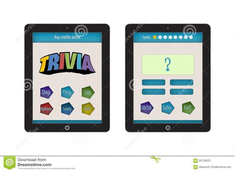 trivia game app template for mobile app and website design