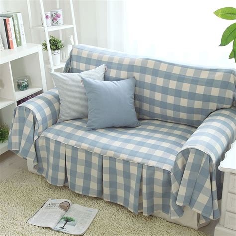 free shipping new arrival blue plaid sofa towel sofa cover