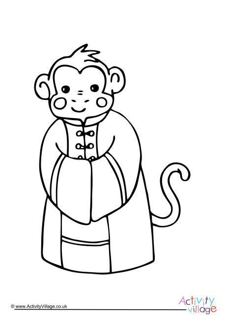 new year monkey coloring new year monkey colouring page
