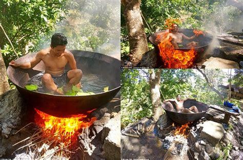 Wajan Paling Besar ekstrem pemandian air panas unik ini gunakan wajan