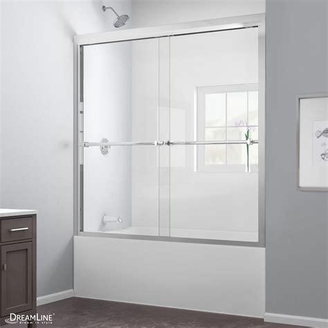Bypass Shower Door Parts Dreamline Duet 56 To 59 Quot Frameless Bypass Sliding Tub Door Clear 5 16 Quot Glass Door Chrome Finish