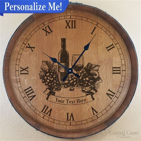 Personalized Wine Glass Wine Barrel Top Clock   Central
