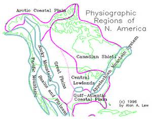 physiographic map of physiographic regions of canada map