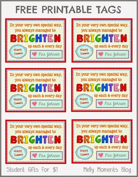 Printable End Of Year Gift Tags | free end of year gift tag printables from teacher to