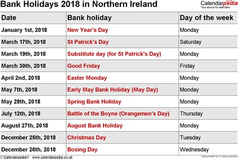 Ireland Calend 2018 Bank Holidays 2018 In The Uk