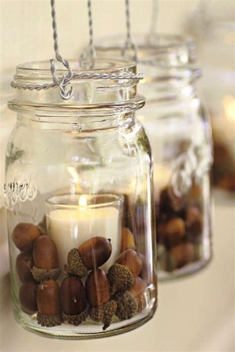 fall wedding decorations with jars acorns in jars wedding
