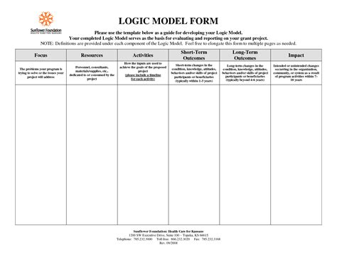 Logic Model Template Cyberuse Logic Model Template Word