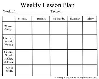 weekly lesson plan template for preschool weekly preschool lesson plan template pre k
