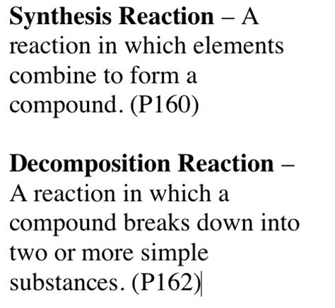 Correspondence Mba Meaning by Synthesis Reaction Definition
