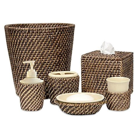 wicker bathroom accessories avalon wicker bath ensemble bedbathandbeyond com
