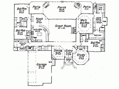 four bedroom house plans one story 4 bedroom one story house plans