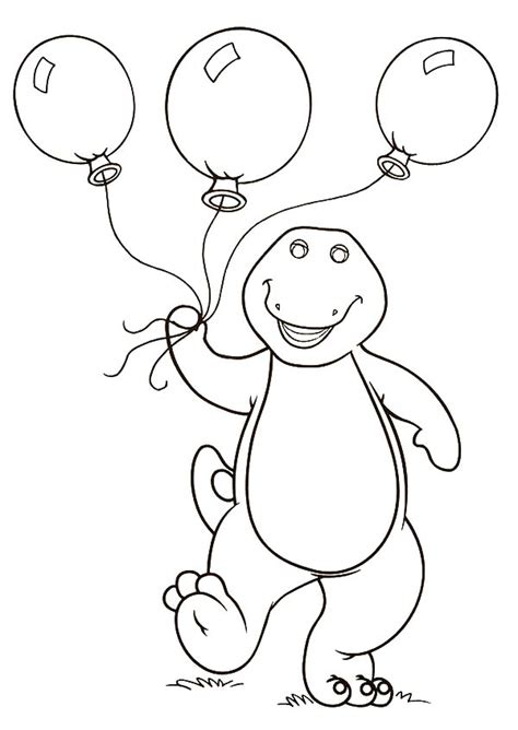barney birthday coloring page barney holding three balloons coloring pages barney