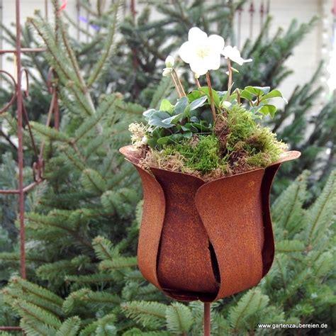gartendeko gross edelrost tulpe zum stecken gro 223 rost deko