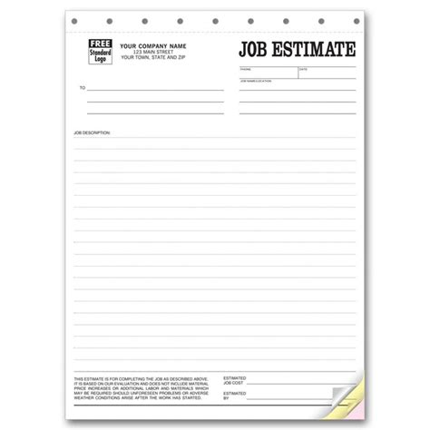 work estimate template estimate business forms free shipping
