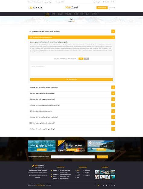 themeforest faq travel html template by tmdstudio themeforest
