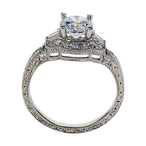 vintage inspired halo engagement ring 18k white gold
