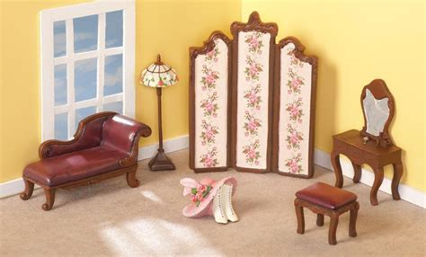 6 pc dollhouse miniature victorian accent bedroom