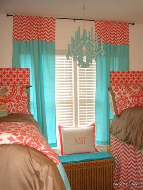 coral and turquoise curtains tiffany blue and coral beautiful bedding the chandelier