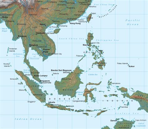 east asia physical map physical maps of southeast asia free printable maps