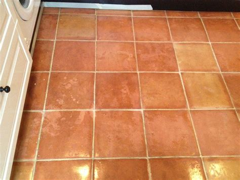 terracotta tiled kitchen floor cleaned and sealed in