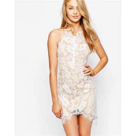 Eyelash Hem Dress fizz dress in eyelash lace with dip hem nudevotion