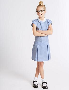 Breasted Dress Blue White M L 18298 1 pleated gingham dress