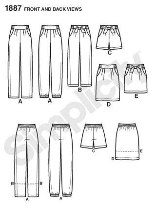 paper bag waist pattern simplicity 1887 misses pants shorts and skirt