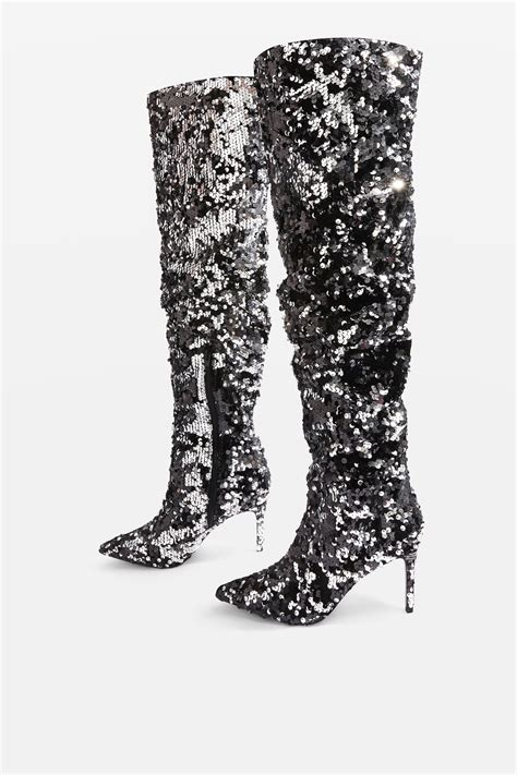 bejeweled knee high sequin boots topshop