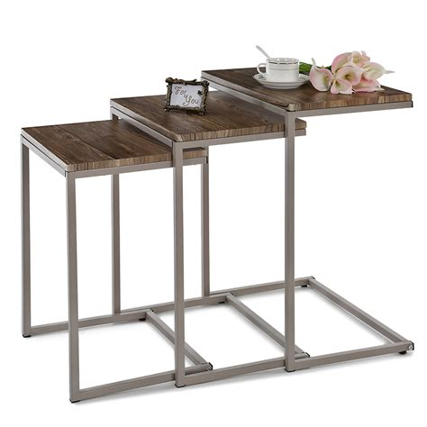 nesting console table set uk us fr ikayaa 3pcs metal frame nesting console tables