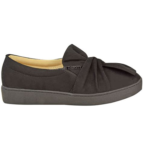 flat suede shoes new womens trainers faux suede slip on flat bow