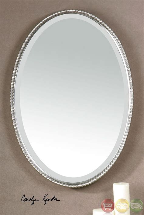 brushed nickel mirror for bathroom sherise modern brushed nickel oval mirror 01102 b