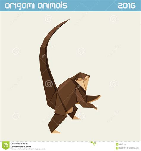 new year monkey origami origami monkey vector simple flat illustration new year