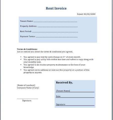 invoice template for rent rent invoice template layout format guidelines free