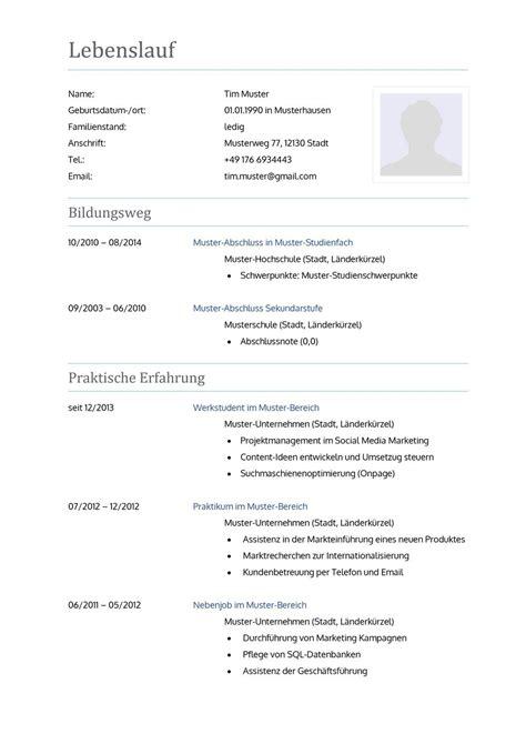 Lebenslauf Vorlagen 2016 Muster Lebenslauf Word Muster Lebenslauf Word 2016