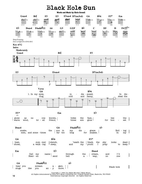 black hole sun chords black hole sun sheet music by soundgarden guitar lead