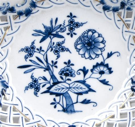 blue onion pattern pair of meissen blue onion gilded pierced compotes from