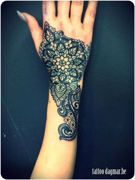 hand tattoo lace lace tattoo on hand maybe if it had a softer look to it