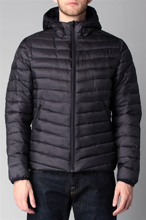 scotch soda quilted jacket in blue for lyst