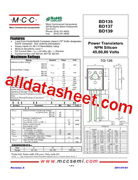 datasheet transistor npn bd139 bd139 datasheet pdf micro commercial components