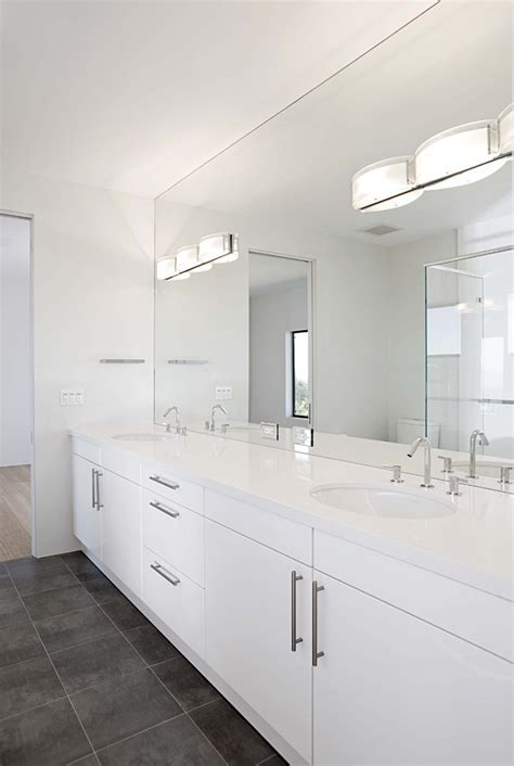 bathroom mirror lights Bathroom Contemporary with double